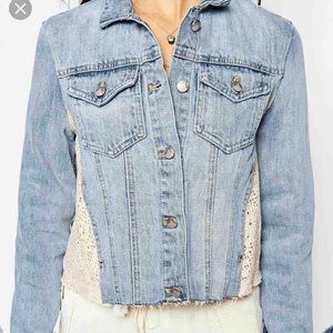 Free people jean jacket with embroidery on sides